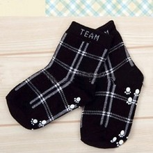 Fashion Kids Boys Infant Cotton Plaid Socks Anti-slip Children\'s Fashion Retro Socks