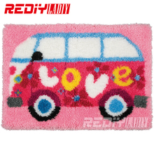 REDIY LADIY Latch Hook Rug Love Bus Wall Tapestry Floor Mat Pre-Printed Canvas Cushion Yarn Embroidery Unfinished Carpet Rug