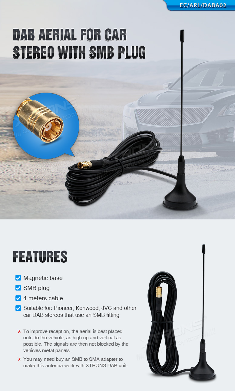 DAB Car Radio Glass Mount Aerial Antenna for Xtrons Stereo with SMB Connector