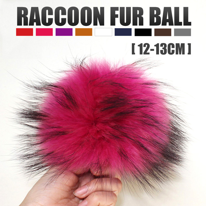Wholesale Colorful Raccoon Ball With Press Stud Fur Pom Poms In Bulk For Women Hat Cap Beanies Fur Accessories In Apparel(China)