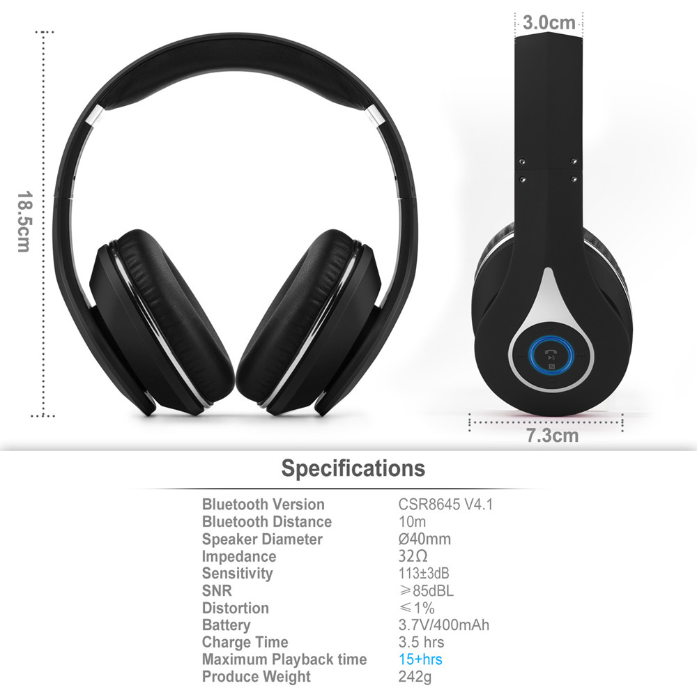August EP640 Over Ear Bluetooth Headphones-Black