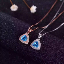 natural blue topaz  pendant S925 silver Natural gemstone Pendant Necklace trendy Elegant simple triangle women party jewelry