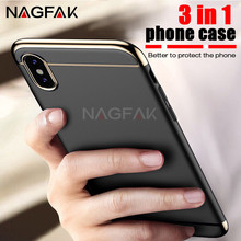 NAGFAK 360 Degree Luxury Protective Full Cover Case for iPhone X PC Plastic Phone Cover For Apple iphone X Case Ultra Thin Shell(China)