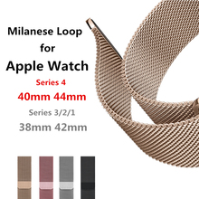 Pulsera Milanese Loop correa de pulsera de acero inoxidable para Apple Watch serie 4 40mm 44mm banda de la muñeca enlace cinturón iwatch 1/2/3/42mm 38mm(China)