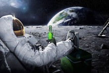 DIY frame Beers Outer Space Earth Astronauts Relaxing Moon Landing Fantasy Poster Fabric Silk Posters And Prints For Home Decor(China)