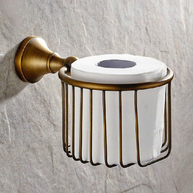 Antique Brass Wall Mounted Bathroom Toilet Paper Basket Holders Cba148<br>