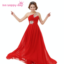 long bridemaid red bridemaids beaded one shoulder brides maid dresses new fashion 2017 elegant chiffon karen woman dress H1053