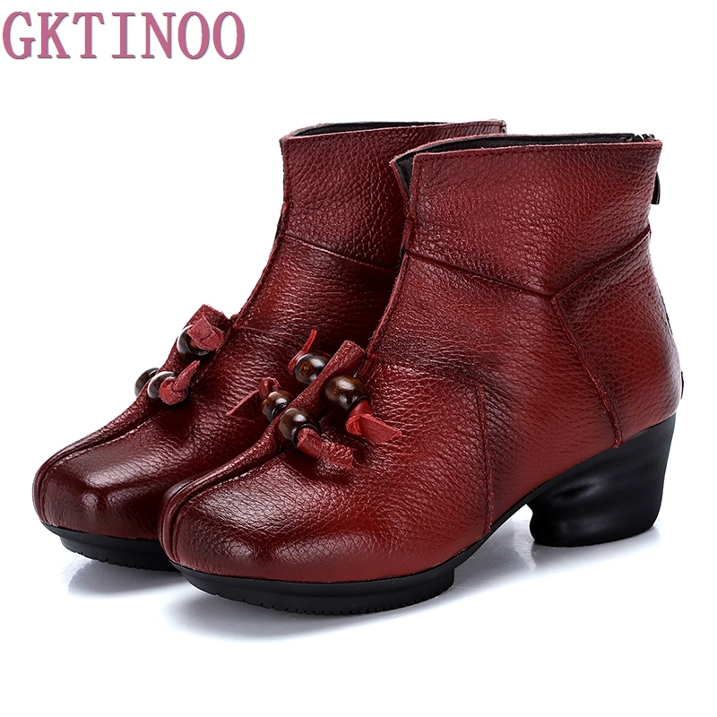 2017 Vintage Style Winter Genuine Leather Women Boots Thick Heels Booties Soft Cowhide Womens Shoes Back Zip Ankle Boots zapato<br>