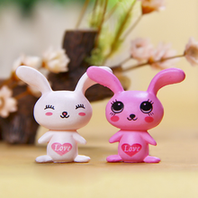 2 Pcs/set Cute Action Figure of Small Animal Cartoon Rabbit Heart Micro Moss Landscape Beautiful Doll Toys Miniature Decoration(China)