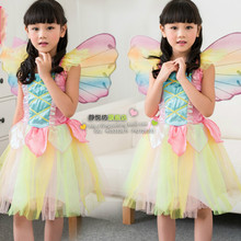 Rainbow Angel Skirt Stage Performance Cosplay Butterfly Elf Garment Halloween Costume Children Wear Princess Dress