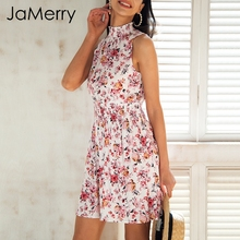 Buy JaMerry Halter sexy sleeveless short dress women Floral print elastic waist summer dress Spring boho beach dress vestidos 2019