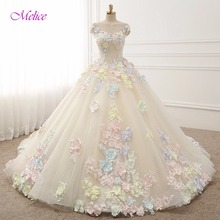 Melice Vestido de Noiva Appliques Flower Ball Gown Wedding Dress 2018 Scoop Neck Cap Sleeve Lace Princess Wedding Gown Plus Size(China)