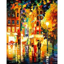Modern Palette knife canvas oil painting landscape pictures night in new york art for home wall decoration
