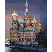 St. Petersburg Church Coloring Wall Arts Nordic Canvas DIY Oil Painting By Numbers Frameless Module Picture Room Decor 40x50cm