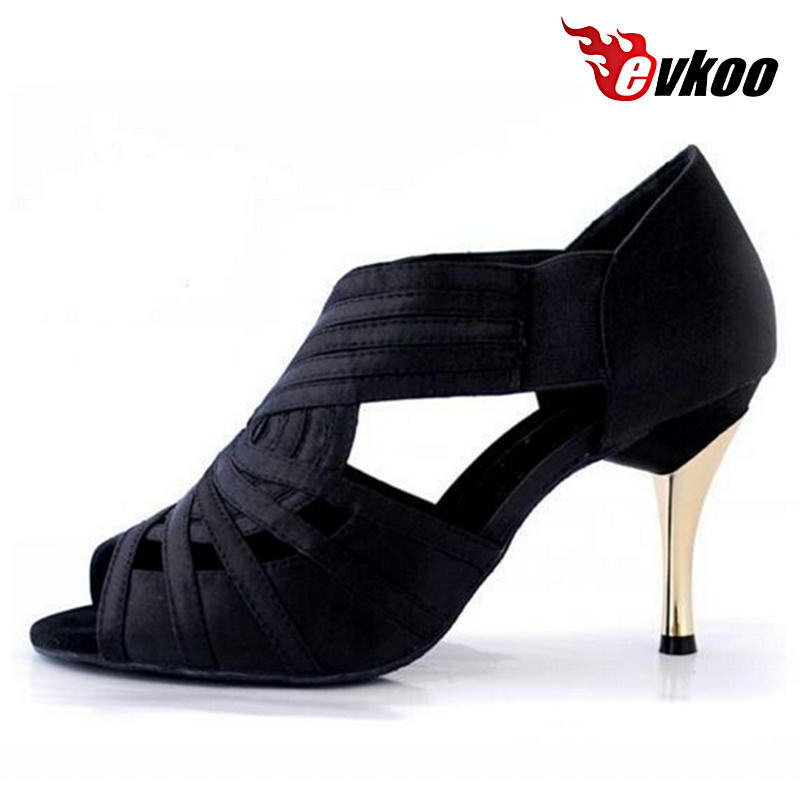 Evkoodance Comfortable Ladies Latin Shoes  8.5 cm High Heel Black Khaki Color Ballroom Latin Dancing Shoes For Women Evkoo-147<br>