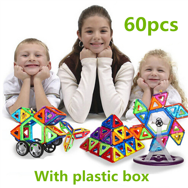 28-60 PCS standard size magnetic building blocks Model Building Toys Brick designer Enlighten Bricks magnetic with plastic box<br><br>Aliexpress