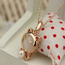 2015 New !!! Fashion Fine Jewelry  Beads Opal Smile Lucky Kitty Cat Clavicle Chain Necklaces & Pendants For Women