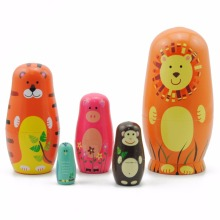 5pcs/set Kids Nesting Dolls Wooden Animal Paint Nesting Dolls Russian Doll Matryoshka Handmade Toys Crafts For Kids poupee russe