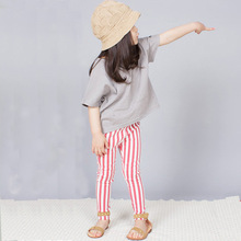Korean Spring Autumn Fashion Children Striped Leggings Girls Fashion Kids Pants Yellow Red Black(China)