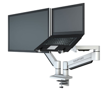M221 Aluminum Alloy Full Motion Desktop Clamping Monitor Mount + Laptop Support Dual Arm Loading 1-8kgs Each Head
