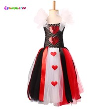 Ksummeree Queen of Hearts Inspired Girls Tutu Dress Halloween Valentines Day Costume Wild Hearts Tutu Dress TS116(China)