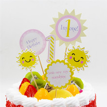 Sun Face Paper Cake Topper Kids Children 1st Happy Birthday Cake Decorating Supplies Cupcake Insert Decorations Party Supplies(China)