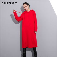 Long Sweater Female Code Slim Winter New Net Color Hooded Long-sleeved Base knitting Sweaters Tide(China)