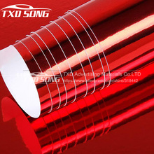 Many Sizes for choice Red chrome mirror vinyl film Glossy Red Mirror Vinyl Sticker Wrap with air free bubbles by free shipping(China)