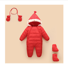 2016 fashion winter children's rompers baby solid thicken outwear one pieces girls boys suits clothes with gloves shoes