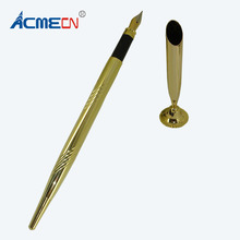 ACMECN Pen with Base Classic Fountain Pen with Stand Metal Engraving Drafting Liquid ink Pen Gold Finance Bank Table Pen Sets