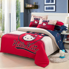 British style red hello Kitty Bedding Set Duvet Cover Bed Sheet Pillowcase Bedding Set King Queen Twin Size 4PCS home textiles