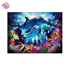 ANGEL'S HAND full drill diamond painting pattern dolphin cross stitch embroidery paintings 5d full diamond  picture