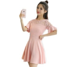 Elegant mini young girl dresses pink black 2017 best selling products transparent gauze korean style dress short sleeve H1117