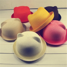 Children Sun Hats Kids Baby Hat Summer Style Children Beach Sun Cap Cute Cat Ears Solid Color