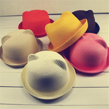 Children Sun Hats Kids Baby Hat Summer Style Children Beach Sun Cap Cute Cat Ears Solid Color(China)