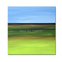 Contemporary Art Abstract painting Modern  Blue Green Field Mountains oil painting
