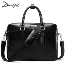 DEELFEL 2017 New Genuine Leather Men Bags Business Men Briefcase Bag Luxury Leather Laptop Bag Man Shoulder Bag bolsa maleta