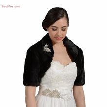 Custom Made Black High Quality Half Sleeve Wedding Jacket Faux Fur Wedding Wrap Cap Sleeve Bridal Bolero Wedding Accessories