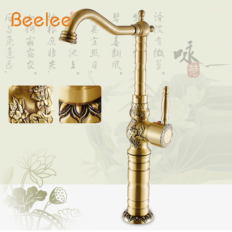 Beelee BL0426A Continental Retro Heightening Counter Basin Faucet Basin Artistic Basin Faucet Hot and Cold Single Rotatable<br><br>Aliexpress