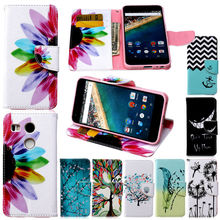 Nexus 5X Case Cover Luxury Flower Smail Card Slot Wallet Flip Book Leather Phone Cases for Google LG Nexus 5x Nexus5x Cover Bag(China)
