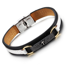 Popular Vintage Bible Scripture Cross Bracelet Genuine Leather Bracelet Cross Charm Prayer Bracelets Christian Jewelry Men Wome(China)