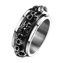 Rock Roll Kpop Stainless Steel Gothic Punk Lots of Baby Skulls Big Rotating Bikers Bible Rings Men's & Boys' Jewelry