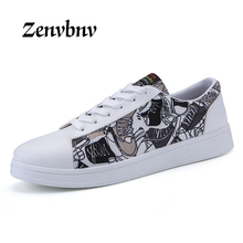 ZENVBNV Brand Men shoes Lightweight Breathable Lace Leather Loafers Fashion Sneakers Graffiti Casual Shoes Zapatillas Hombre