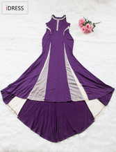 IDress Best selling New Arrival Long Summer Dress 2016 Foor Length Party Evening Woman Dress Black and Purple Elegant Dress