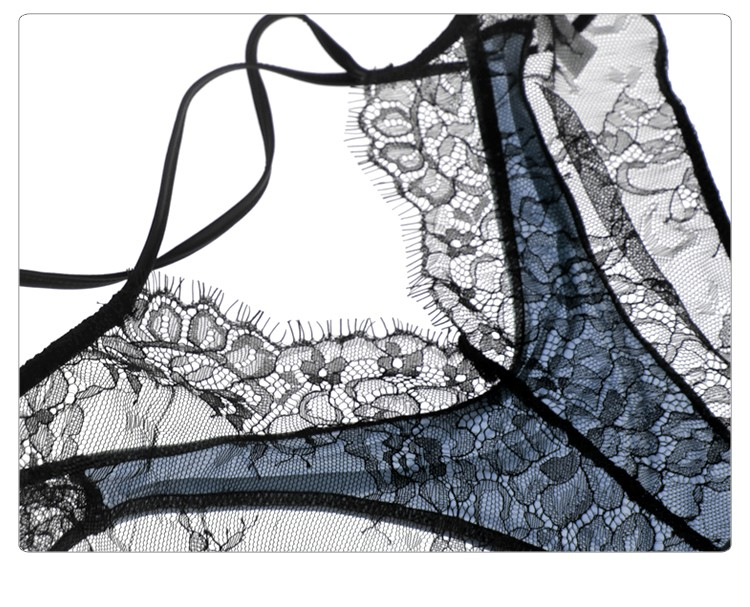 Munllure Ultra-thin sexy lace bra set eyelash lace transparent thin wireless triangle bra and pantiles set women underwear set 10