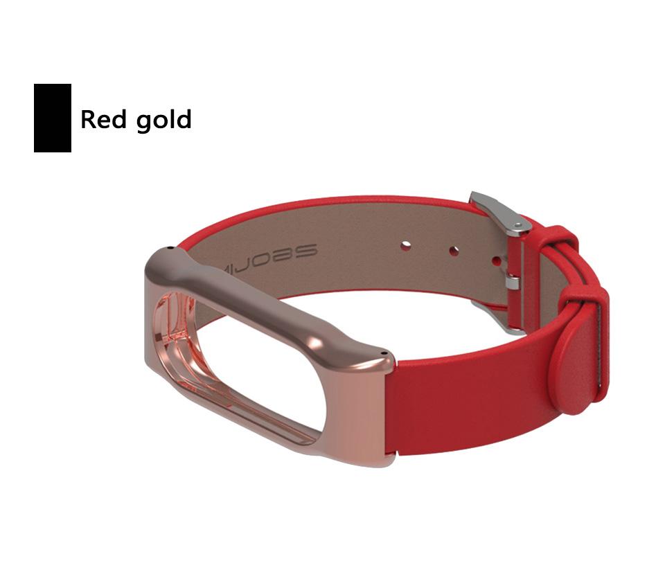 image for Original Mijobs Genuine Xiaomi Mi Band 2 Strap Leather Strap With Meta
