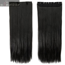 Natural Black 23 inches Real Thick 145g Hairpiece 3/4 Full head Clip in Hair Extensions natural Straight hair Extension 5clips