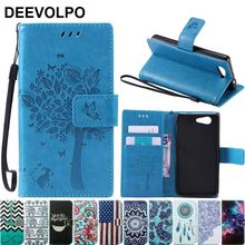 Coque Sony Xperia M4 Z5 Z3 Mini Leather Case Fundas Z5 Z3 Compact Case Z3 Mini D5803 M55W Phone Flip Tree Cat Cover D06Z