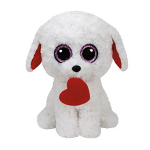 25cm Ty Beanie Boos collection Plush Toy Honey Bun White Dog With Red Heart Stuffed Animal Christmas Gift Hot Sale Kids Toy(China)