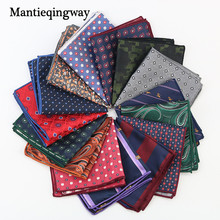Mantieqingway Paisley Flower Dots Pattern Handkerchief Men Business Suit Polyester Pocket Square Navy Stripe Red Handkerchiefs(China)